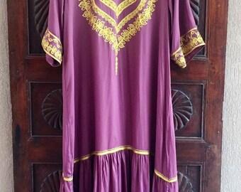 Cotton silk embroidered kaftan maxi dress