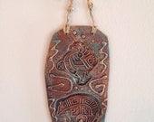 Amazing Southwestern Art Pottery Piece with Bear Fetish and Kokopelli Boho Decor