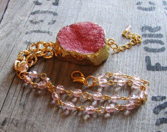 Pink Agate Druzy Gold Chain Bracelet