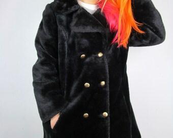Vintage Faux Fur Onyx Black Punk Rockabilly Posh Goth 90s Coat