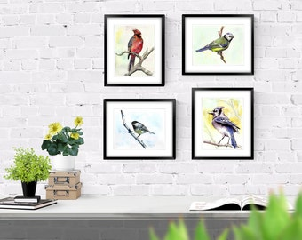 Bird Wall Art Decor - Colorful Birds Collection - Wall Art - Set of Four - Watercolor