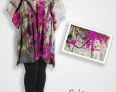 Cotton abstract floral dress / kimono kaftan, magenta boho clothing women tunic, handmade clothing loose top cotton anniversary gift for her