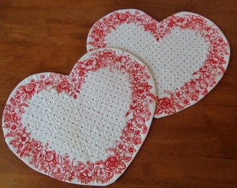 Romantic Heart Placemats, Quilted Snack Mats, Candle Mats, Red Rose, Floral, Wedding Gift, Anniversary, Mug Rugs, Cottage Chic Decor