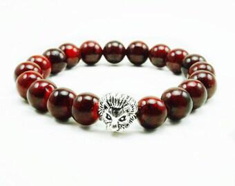 "Men's ""Arye"" Silver Lion Red Coral Beaded Bracelet"
