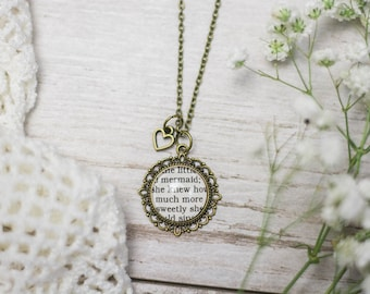The Little Mermaid, Hans Christian Andersen, Necklace, Mermaid Jewelry, Classic Fairy Tale, Literary Jewelry, Literature, Book, Book Quote