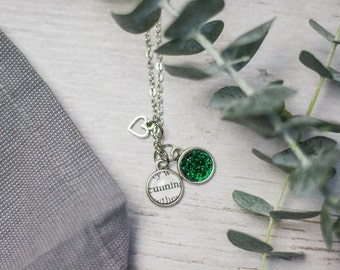 Cunning Necklace, YA Fandom Jewelry,Inspirational Jewelry, Bronze, Shiny Silver, Book Lover Gift, Fandom Jewelry, Be Cunning, Green Cabochon