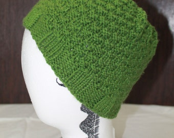 Green Knit Nubby Hat - Adult
