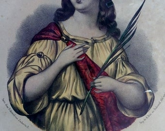 France Antique, French Vintage, Saint Sophie, Hand Coloured Print, Vintage Religious Pictures, Print Antique , Paris France