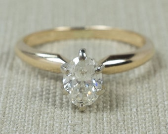 Classic Flattering 14K Yellow Gold 0.75ct I1/H Oval Natural Faceted Diamond Solitaire Traditional Engagement Ring Size 5.5 FREE SHIPPING!