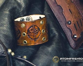 Brotherhood of Steel leather wristband based on Fallout