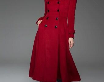 Red Coat, Full Length coat, womens coats, red wool coat, long coat, wool coat, coats, jackets, long wool coat, winter coat  C741