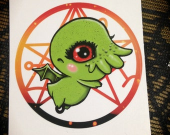 Baby Cthulhu Sticker // cute creepy scary tentacles horror lovecraft evil adorably sigil demons kawaii