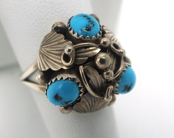 Vintage Native American Turquoise and Silver Ring Leaf design