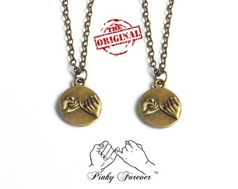 Bronze His Hers Couples Necklace, Best Friends Necklace, Pinky Promise Necklace,  Pinky Swear Necklace, Boyfriend Girlfriend Pinkie