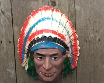 Vintage Chalkware General Store Rare Native American String Ball Holder Dispenser