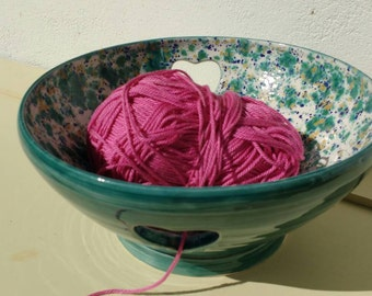 Pottery Yarn Bowl UK Knitting Bowl Handmade - Teal and Speckled glazes - ready to ship
