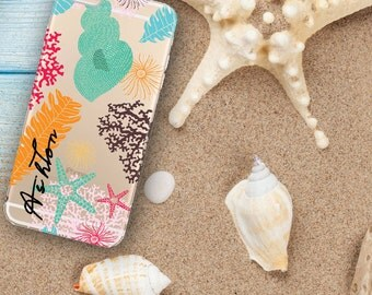 Beach transparent Iphone 6 Plus case clear, Shells Iphone 6 case clear, Summer outdoors accessories, Birthday gift idea for teens (1622)