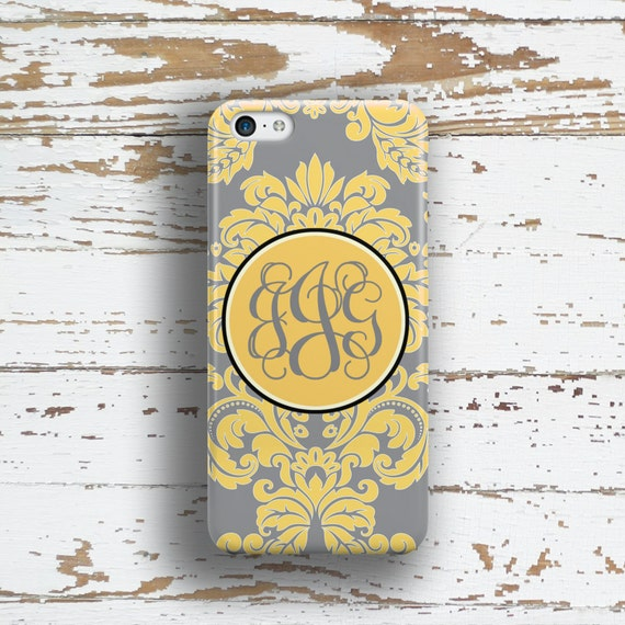 Personalized gift, Monogram iPhone 6 case, Pretty IPhone 5s case, Women IPhone 5c case, Floral Iphone 4s case, Gray yellow damask (9587)