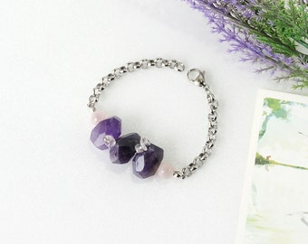 Purple Amethyst Crystal Bracelet, Rose Quartz and Ametrine Combination Stone Jewelry, February Birthstone