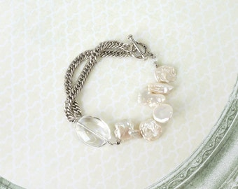 Combination Bracelet of Clear Crystal Quartz and Freshwater Baroque Pearls, Gemstone Jewelry