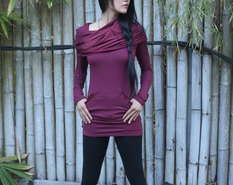 Raspberry Tunic ~ Bamboo ~ Sweater dress ~ Hooded Dress ~ Bamboo Clothing  ~  Sati Creation