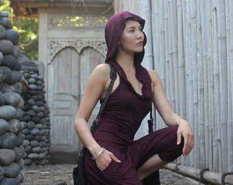 Jumpsuit ~ Hoodie ~ Raspberry  ~ Yoga ~ Bamboo Romper ~ lounge jumpsuit ~ lounge wear ~ Harem