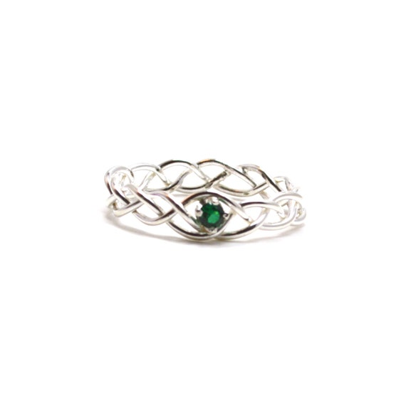 Emerald Braided Ring - Silver Braid - Your choice of Amethyst, White Topaz, Aquamarine, Garnet, Sapphire, Emerald, Golden Topaz