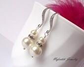 Wedding earrings, pearl bridal earrings, bridesmaid earrings, wedding jewelry, bridesmaid gift, pearl wedding earings, long pearl earings