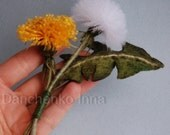 Dandelion felt brooch Dandelion yellow and white brooch