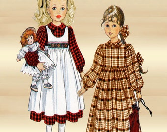 Little Vogue 8608 Girls Prairie Dress and Smocked Pinafore a Teresa Layman Design Sizes 2 3 and 4 Unused Factory Folded