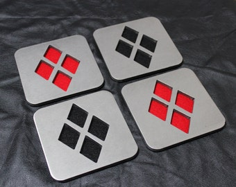 Harlequin Coaster Set of 4, Red and Black, Stainless Steel