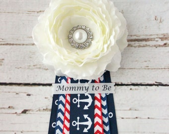 Nautical Baby Shower Corsage for Boy with Red Green and Gray Chevron and Mommy to Be Grandma to Be and Custom Pins Anchor Corsage Ahoy its