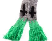 Gravestone Wrap Around Scarf with Grass and Fringe Detail - Spooky Grey Green Black Crochet Scarf - Gothic Inverted Cross Headstone Scarf