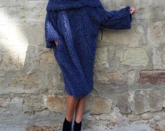 Blue Dress / Midi Dress with Sleeves / Winter Dress / Shift Dress / Womens Plus Size Clothing