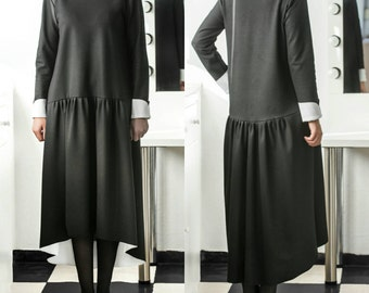 Black dress white collar, Black Maxi Dress, Spring dress, Elegant Dress, Midi dress, High Low dress, Party dress, Midi tea dress,Dress women