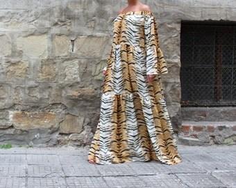 Animal Print Summer Maxi Dress, Cotton Tiger Print Maxi Dress, Summer Cotton Maxi Dress, Long Cotton Maxi Dress, Off-Shoulder Maxi Dress