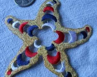 Large Starfish Iron-On Applique Red White Blue Gold Starfish
