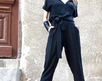 NEW Collection   Black Viscose Textile Jumpsuit  / Extravagant Loose Jumpsuit /Side pockets Build - in belt   by AAKASHA A19417