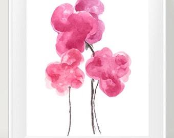 Hot Pink Wall Decor, 11x14 Watercolor Art Print, Hot Pink Decor, Flower Painting, Hot Pink Flower Print, Hot Pink Floral Painting, Pink Art