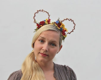 I'm Wishing | Whimsy Ears | Snow White inspired custom floral Mickey ears