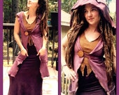 Custom Made to Order Samadhi Long French Terry Button Vest with Hood Organic Hemp and Cotton Dyed with Herbs