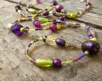 Green and Purple long beaded necklace, green necklace, green beads, long bead necklace, handmade green necklace, purple necklace, aubergine