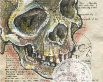PRINT:  Skull Mixed Media Drawing on Antique Dictionary Page