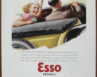 Esso, 1935, vintage, ad, original, petrol, English,advertisement, cars, free shipping, paper, ephemera