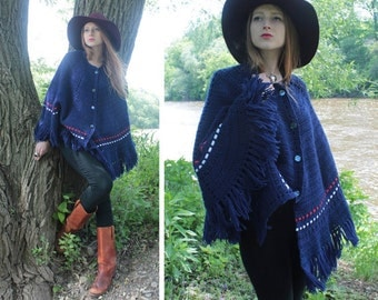 70s Poncho FRINGED SWEATER Jacket blanket blue Button Up CAPE Cardigan vintage hand Knit Hip Boho Festivals red & white trim Tunic Top S/M/L