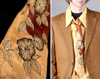 40s Jacquard Print NECKTIE Vintage Herculean Built PANELS Resilient Rayon Silk SWANK Nouveau floral fall Autumn Burnt-Orange Swag Wide Ties