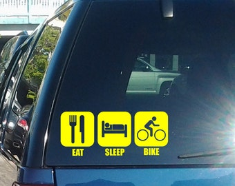 Eat Sleep Bike Vinyl Decal fits car windows, laptops and so much more, 26 colors and lots of sizes available K066