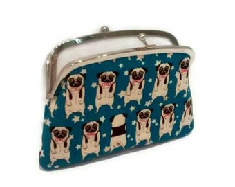 Pug dog kiss lock purse, snap clasp wallet - cute clutch in blue with 2 compartments in white doggy animal lover gift
