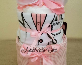 The Dr. Sweets Baby Girl 2 Tier Diaper Cake