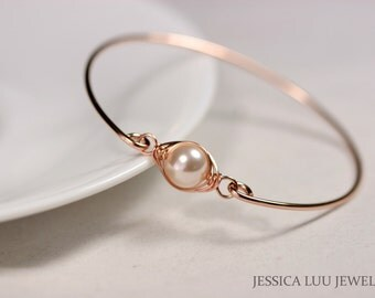 Rose Gold Pearl Bangle Bracelet Wire Wrapped Jewelry Handmade Rose Gold Bracelet Rose Gold Jewelry Rose Gold Bangle Pearl Bracelet